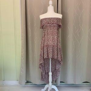 Wuwatu Strapless Hi-Lo Peasant Dress